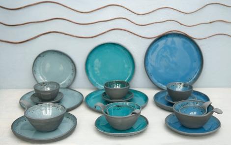 Grey, Turquoise & Blue (Black Porcelain)