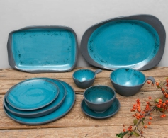 Black collection artistic turquoise-square-oval-platter