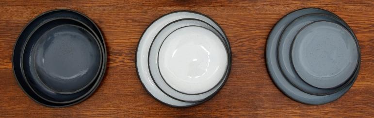 Black porcelain collection Black grey white