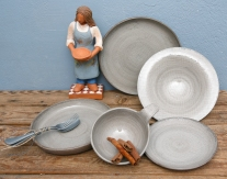 White Linen Collection & Ceramic figure (the potter)