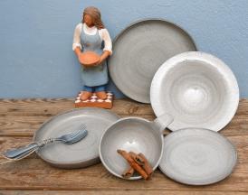 White Linen Collection & Ceramic figure (the potter)