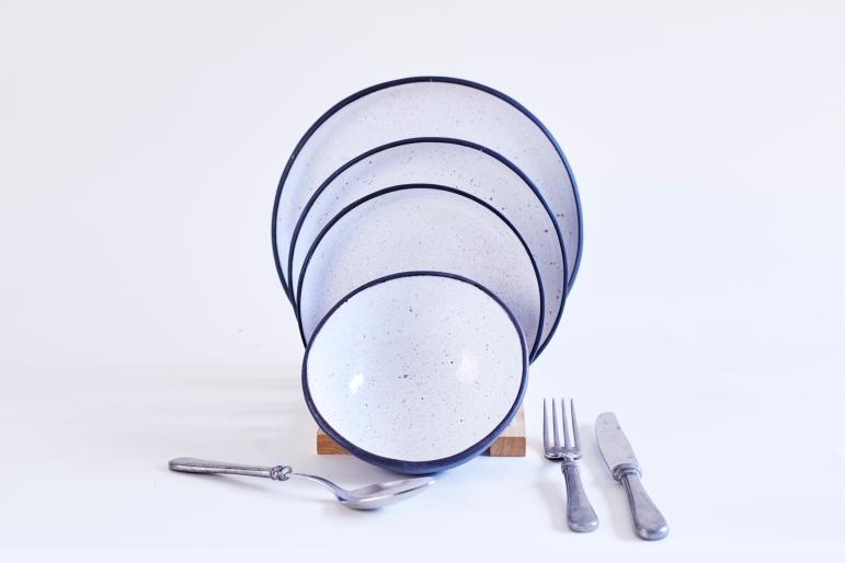 Porcelain-Goose Egg Plates-DInner-Pasta-Dessert-Bowl with Cutleries