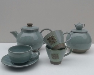 Green Tea Pot, Cups & Container