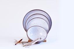 Ceramic Goose Egg Plates-DInner-Pasta-Dessert-Bowl with Tools