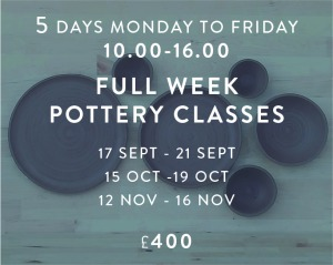 Full Week Pottery Classes 17.9-21.9