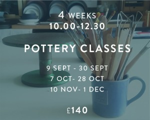 Pottery Classes 9.9-1.12