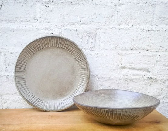 Matte White Plate and Bowl