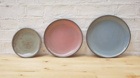 Sage Green, Peach and Rustic Blue Plates